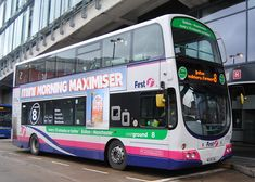 "This Volvo Eclipse Gemini is seen in Shudehill Interchange's Bus Station on the 8 towards Bolton. wears branding for the ""Overground service. First Bus, Buses And Trains, Bus Station, Busses, Greater Than, Volvo, Gemini, Manchester, Transportation"
