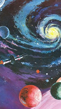 Illustration galaxy sci-fi space art space painting vintage art space wars fact and fiction