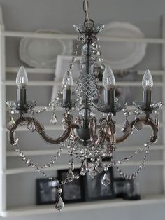French Antique 4 Light Chandelier With Acrylic Crystal Droplets – Grey for sale online Decor, Acrylic Chandelier, Ceiling Lights, Chandelier Lighting, Crystal Chandelier, Grey, Light Fixtures, Light, Chandelier