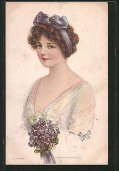 Ladies / Woman without hat Low Cut Dresses, Thanksgiving Greetings, Girl Sign, Purple Satin, Victorian Women, Old Postcards, Vintage Beauty, Pretty Woman, Red Hair