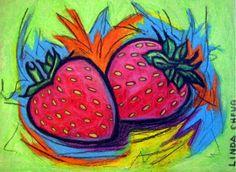 FRUIT OIL PAINTING - STRAWBERRY BURST- 9.5x12- Food Art