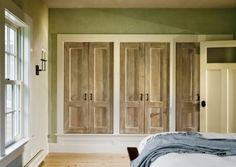 I like this for bedroom - Sliding barn doors finished like this. Rustic but I really like this