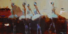 "Alina Maksimenko Paintings, Art, Oil on canvas, Postimpressionism; ""Ballet"", 50x100"
