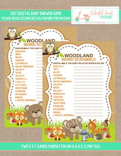 {WHAT YOU ARE PURCHASING} --------------------------------------------------------------------------------------- WOODLAND BABY SHOWER WORD