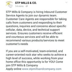 www.stpmillsandcompany.com #workfromhome #workathome #virtualwork #beyourownboss #customerservice #callcenter #exec #stpmills Companies Hiring, Be Your Own Boss, Job S, No Response, This Or That Questions
