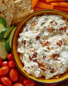 Hidden Valley Bacon & Cheddar Dip  INGREDIENTS1 16-oz. container sour cream1 1 oz. packet Hidden Valley®Original Ranch®Dips Mix1 cup shredded cheddar cheese6 strips thick cut bacon cooked and crumbledfreshly cut vegetables, corn or potato chips  DIRECTIONS  In a bowl, add the sour cream and dips mix and stir until well blended. Fold in the cheese and bacon. Chill covered for 1 hour before serving.Serve with vegetable or chips.