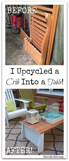 I Upcycled My Son's Old Crib Into a Coffee Table For My Patio