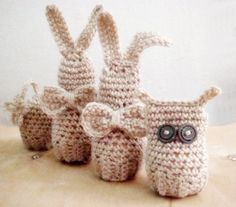 Easter Amigurumi Crochet PDF PATTERN Set Bunny Owl Egg Cover Cozy Easter Home Decor