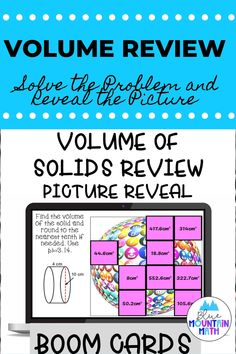 Are you looking for an interactive and self-correcting resource to review finding the volume of solids with your students? There are 2 different pictures with 16 problems for each picture. Students start with the picture totally covered by the answer boxes. As they answer each question correctly, more and more of the covered picture is revealed.