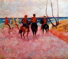 Paul Gauguin - Post Impressionism - Tahiti - Cavaliers sur la plage 1 - 1902