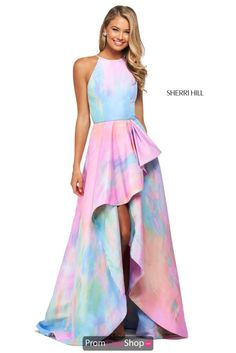 Sherri Hill 53870 is a tie-dye print mikado A-line dress with ruffled skirt slit and high cut halter style neckline with back cut out. Rainbow Prom Dress, Neon Prom Dresses, Sherri Hill Prom Dresses, Prom Dress Stores, Dress Shops, Rainbow Wedding, Dressy Dresses, Quinceanera Dresses, Club Dresses