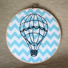 Hot Air Balloon vintage style hand embroidery on by MoonriseWhims