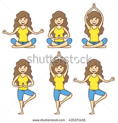 Vector set with beautiful cartoon woman exercising various different yoga poses. Girl health relax in fitness poses.
