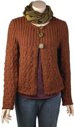Rosebud Cardigan free knitting pattern -- sweater decorated with rosebuds -- and more free cardigan sweater knitting patterns