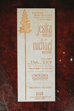 Engraved wood wedding invitation - so pretty! #wedding #woodland #weddinginvite #wood #forestwedding
