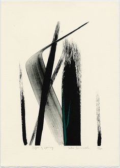 Sign of Spring -Toko Shinoda (b. 1913), calligrapher is known as a master of the intricate manner of writing tracing back 3000 years. She began creating abstract work in 1947. A two-year stay in New York in the 1950s introduced her to the work of abstract expressionists and inspired her to go beyond the traditional boundaries of controlled calligraphy and use expansive, dynamic brush strokes (...) slashing across the paper's surface, carving out a landscape inhabited by both warrior and…