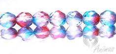 Brúsené korálky - modro-ružové (B0547-0010) 8 mm (10 ks)