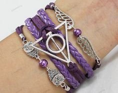 purple braceletscute owl Harry Potter Snitch & by lifesunshine, $7.99