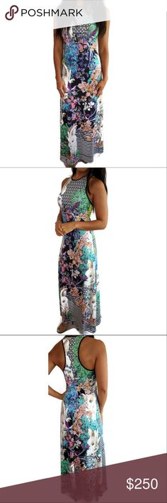"""Clover Canyon Printed Maxi Dress Sleeveless Sz Xs Perfect long dress to say bye to the summer! Accepting reasonable offers  -  Floral dress sleeveless -  Length 55 1/2"""" -  Model is 5'5"""" -  Black stripes around the dress Clover Canyon Dresses Maxi"""