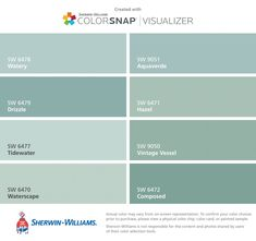 New Ideas For Bathroom Colors Blue Sherwin Williams Benjamin Moore bedrooms sherwin williams New Ideas For Bathroom Colors Blue Sherwin Williams Benjamin Moore Watery Sherwin Williams, Sherwin Williams Tidewater, Sherwin Williams Color Palette, Blue Green Paints, Green Paint Colors, Blue Colors, Watery Paint Color, Beachy Paint Colors, Duck Egg Blue Paint