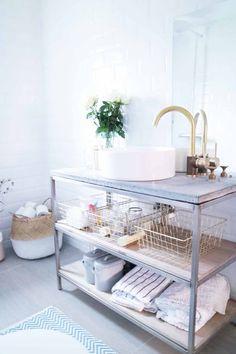 Industrial Modern Bathroom White Brass Gold Mirror Concrete