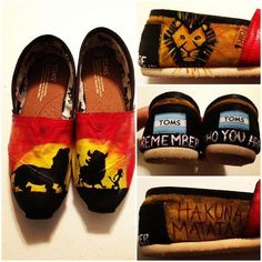 Custom HandPainted Lion King Toms Shoes All by jessicalexis from jessicalexis on Etsy. Saved to Toms. Cheap Toms Shoes, Toms Shoes Outlet, Weird Fashion, Fashion Shoes, Fashion Outfits, Fashion Fashion, Runway Fashion, King Fashion, Fashion News