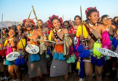 Ludzidzini, Swaziland, Africa - Annual Umhlanga, or reed dance ceremony, in which up to young Swazi women gather to celebrate their virginity and honor the queen mother during the 8 day long event.