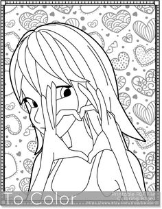 Girl With Heart Printable Coloring Pages For Adults I You PDF JPG