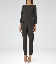 Womens Forest Low-back Jumpsuit - Reiss Amelia