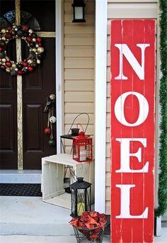 Christmas easy DIY noel sign, 2013 Christmas outdoor red wooden noel sign, Christmas home decor idea