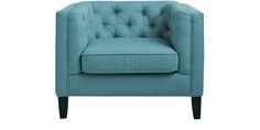 Modern Chair having Tuxedo Arms with Loose Cushion Seat in Blue Colour by Afydecor
