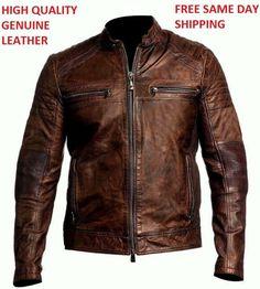 Mens Vintage Biker Motorcycle Distressed Brown Cafe Racer Genuine Leather Jacket #SHOQZFASHIONZ #Motorcycle