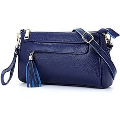 Lecxci Small Soft Real Leather Crossbody Shoulder Bags Zipper Cell Phone Wallets Purses for Women Girls Blue *** Read more reviews of the product by visiting the link on the image.Note:It is affiliate link to Amazon.