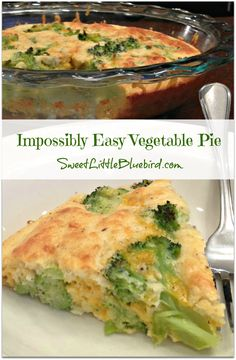 """IMPOSSIBLY EASY VEGETABLE PIE - """"My, what a pie! A savory blend of cheddar cheese and broccoli in a pie that makes its own crust while it bakes."""" So simple to make and delicious - versatile too!"""