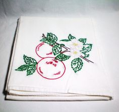 Apple Blossoms  Dish Towel  Hand Embroidery by CraveCute on Etsy, $10.00