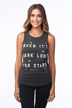 Let the stars guide you in our gorgeous Look for Stars lightweight tank. With a bold front graphic and gold foil details, this tank is perfect for layering over