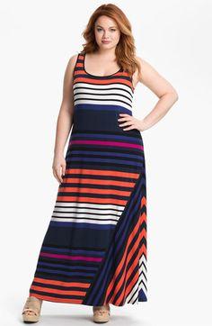 Please go on sale...please go on sale... Calvin Klein Stripe Tank Maxi Dress (Plus) available at Nordstrom