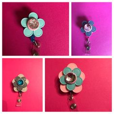 Three different types of flowers made in the pictures. I am able to place diamonds in the center, leave them blank, or add glitter. They can be made to order. These are pre-made and able to make more if interested.  There are many different options related to these flowers. I am able to do pink, teal, grey, green, blue, purple, yellow, brown, red, or white flowers. The center of the flower can be the previous colors as well. Feel free to message me regarding what color you would like.