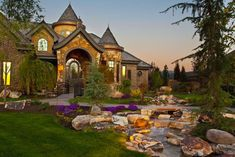 I want my house to look like a castle. Custom Home Builders, Custom Homes, Landscape Bricks, Cottage Style Homes, My Dream Home, Dream Homes, Luxury Estate, Traditional Exterior, Landscaping With Rocks