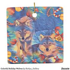 Colorful Holiday Wolves Ceramic Ornament