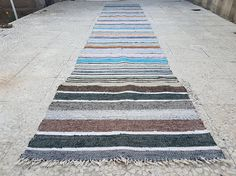 Turkish Vintage Caput Kilim Runner Handwoven with Cotton and