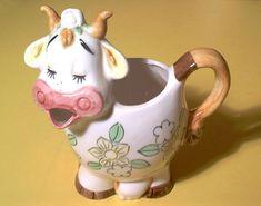 Vintage 50s Large Ceramic Cow Pitcher Creamer Flowers 1 Qt