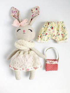 Bunny Doll, Handmade Bunny, Cloth Doll, Rabbit Toys, Girl Gift, Plush Doll, Plush Bunny, Plush Toy