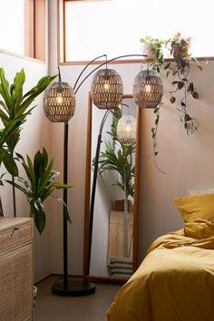 Boho Living Room, Living Room Decor, Room Ideas Bedroom, Bedroom Decor, Master Bedroom, Garage Bedroom, Floor Lamps, Floor Lanterns, Dorms Decor