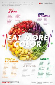 The best way to get all of the vitamins, minerals and nutrients you need is to eat a variety of colorful fruits and vegetables. Add color to your plate each day with the five main color groups. - Eat More Color Healthy Nutrition, Healthy Life, Healthy Snacks, Healthy Eating, Healthy Recipes, Most Healthy Fruits, Best Fruits For You, Holistic Nutrition, Fruit Recipes