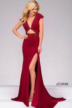 Burgundy Cap sleeve High Slit Beaded Dress 48132