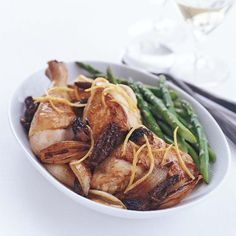 Lemon chicken fricasse with shallots, morels and asparagus. Food & Wine magazine