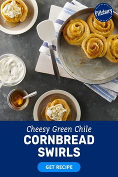 Southern food idea meets comfort food recipe with this green chili cornbread. Pillsbury Cornbread Swirls provide a sweet-tasting dough that's wrapped around green chiles and cheddar cheese for an ooey-gooey biscuit-like treat that will wow your family. With five simple ingredients, you can prep this cornbread recipe in 20 minutes and bring a touch of soul food to your table.