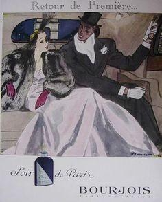 Soir de Paris BOURJOIS 1950 Affiche de Mourgue