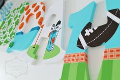 Orange, Lime, Aqua sports Themed Hand Painted Personalized Wooden Letters for Nursery, Bedroom, or Party by KraftinMommy on Etsy